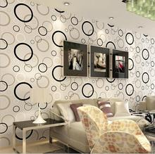 Modern Minimalism Black White Circle Effect Wallpaper Roll /Fashion Design  Bedroom Living Room Shop Decoration Part 34