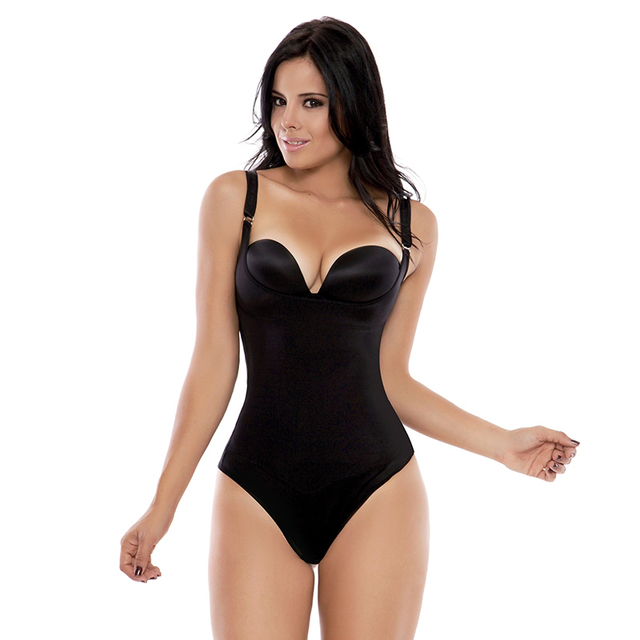 ce758931fb684 Plus Size S-3XL Women s Braless Latex Thong Style Body Shapewear Sexy  Lingerie Black Slimming Underbust Corset Waist Shaper