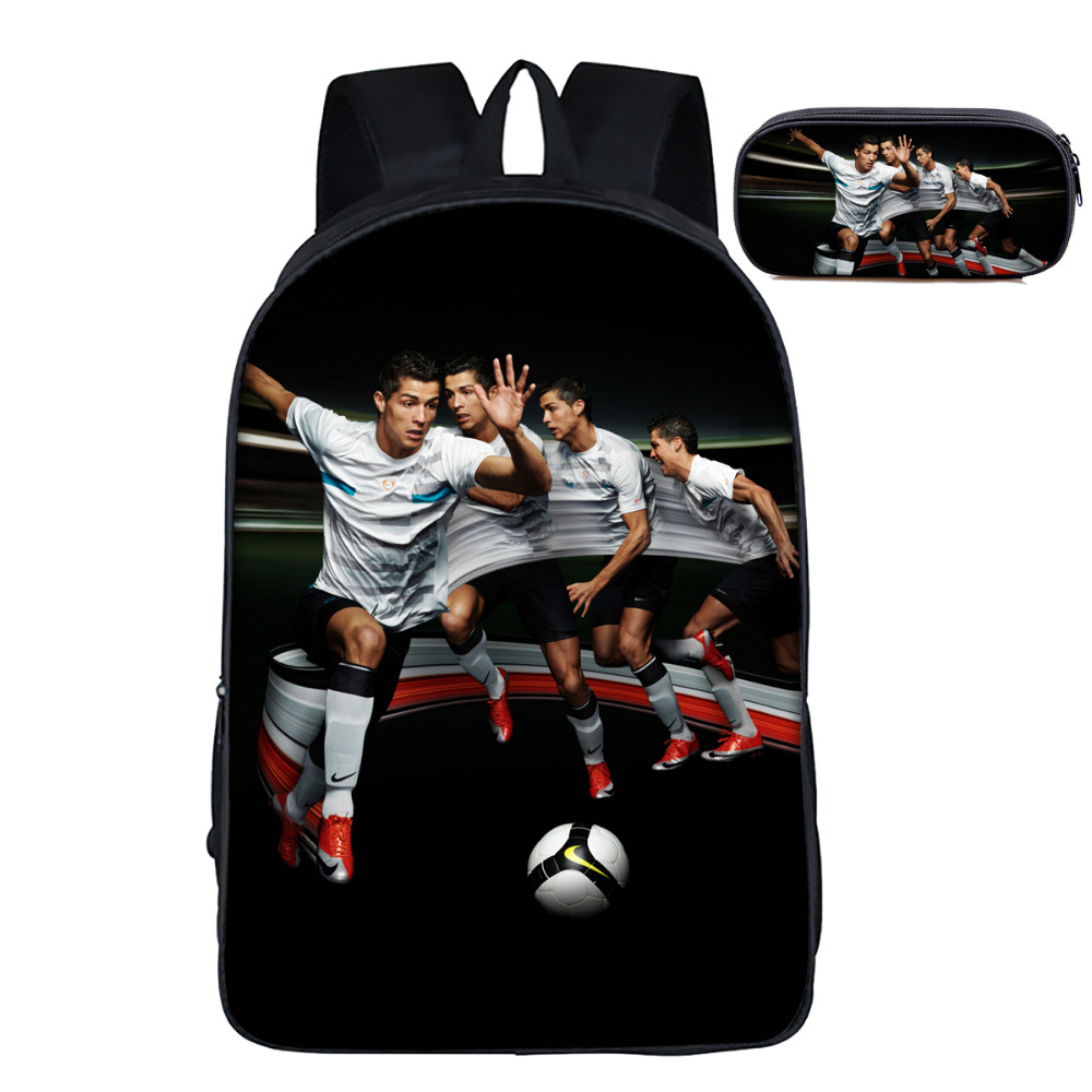 16 inch Cristiano Ronaldo School Bags Pencil Bag Set School Backpack Pencil Case for Girls Boys Bookbag Children Primary Gift 3 pcs school bags for boys high school backpack male small one shoulder bookbag boy blue pen pencil bag set travel bags