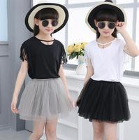Fashion Slim Girls Clothing Sets Tassels T Shirt Two Piece Mesh Skirt Suits Cotton Kids