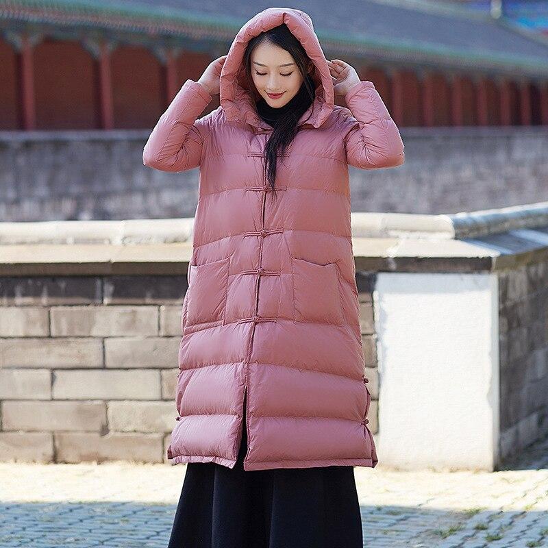 China Style Women Winter Long Duck   Down   Jacket Fashion Printing Duck   Down     Coat   Winter Outerwear