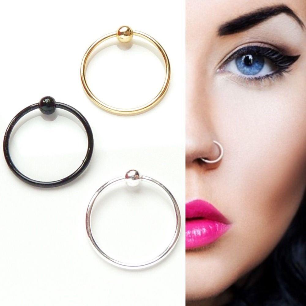 Ed 10mm 925 Sterling Silver Nose Ring Fashion Piercing Nose