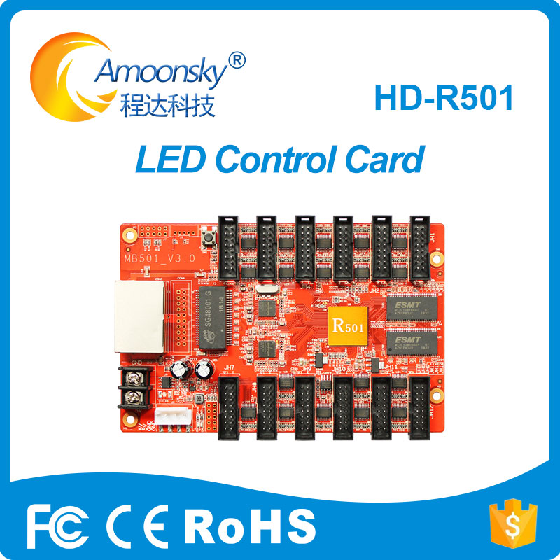 HD-R501 Asynchronous Full Color LED Module Display Control Card Receiving Card 12*HUB75 Work With C10, C30, A30