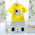 2017 new summer baby set boy cartoon short sleeve 100% cotton t-shirt + pants 2pcs sets of children's clothing set free shipping