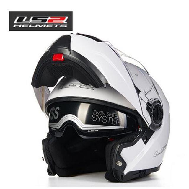 Original Más Nuevo ff325 cara llena del casco de doble lente LS2 tirón encima del casco de moto con airbag off road racing casco Capacete