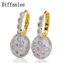 Diffanlee Charm Cubic Zirconia Jewelry Women's romantic luxury Hoop Earrings Wedding Jewelry
