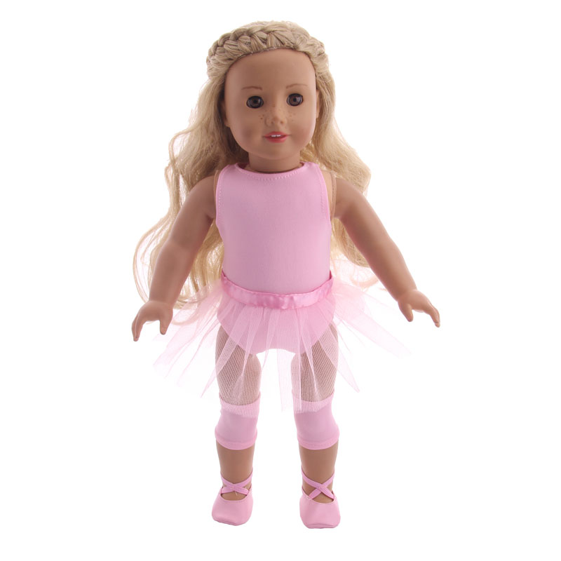 Doll Clothes 5Pcs/Set=Suitcase+Ballet/Denim Suits+Shoes+Panties+Mini Tablet For 18 Inch American&43 Cm Baby New Born Doll Girl`s