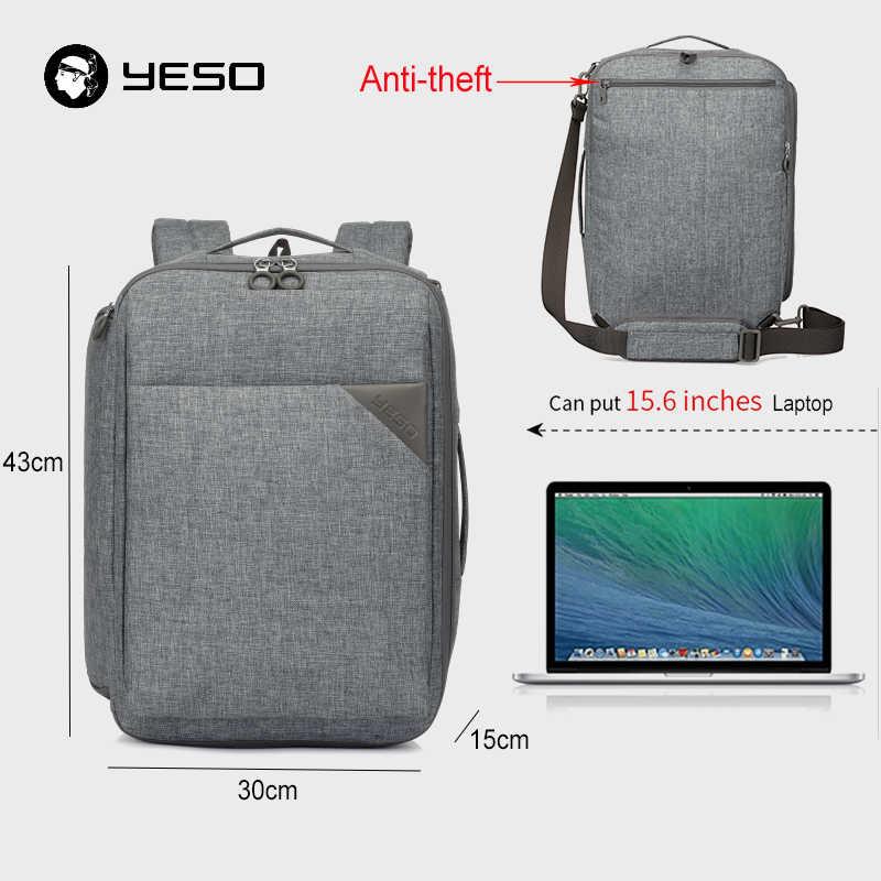 YESO Multi функция путешествия рюкзаки для мужчин fit 15,6 дюймов ноутбук 3 в 1 повседневное рюкзак 2019 деловой рюкзак для компьютера сумки