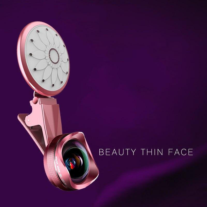 LIGINN LED Selfie Flash Light Fill in Light Phone Lens 4K HD Wide Angle+20X Macro Mobile Camera Lens For iPhone Xiaomi Samsung