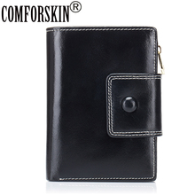 COMFORSKIN Genuine Oil Wax Leather Carteras Mujer European and American Magnetic Buckle Women Wallets Two-fold Woman Wallet 2017