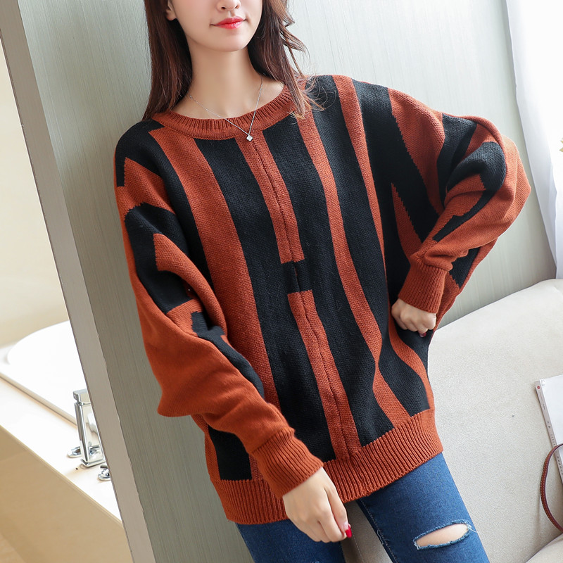 2017 fall and winter women new loose big code ladies sweater knit batwing sleeve casual knitwear o neck design sweaters girl