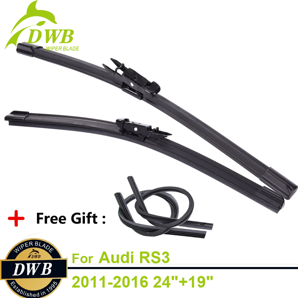 2PCS ECO Wiper Baldes for Audi RS3 2011-2016 24+19, Free 2Pcs Rubbers, Best Wipers for Rain