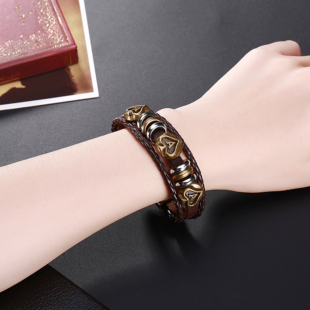 GOMAYA Leather Bracelet Weaving Retro Style Mens Chain Romantic Heart For Women Jewelry in Chain Link Bracelets from Jewelry Accessories