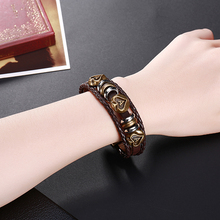 все цены на GOMAYA Leather Bracelet Weaving Retro Style Mens Chain Romantic Heart  For Women Jewelry онлайн