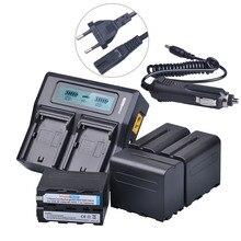 4 Pcs 7200 mAh NP-F970 NP NPF970 F970 F960 NP NPF960 Bateria + LCD Rapid Carregador Duplo para Sony F930 F950 F770 F570 F970 F960 F975