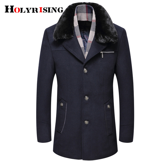 aa0495076 US $66.6 53% OFF Holyrising 6XL Thick Warm Top Quality Scarf Collar Fashion  Design Mens Jacket Wool Coat Men Busines Mens Wool Jackets 18581 5-in Wool  ...