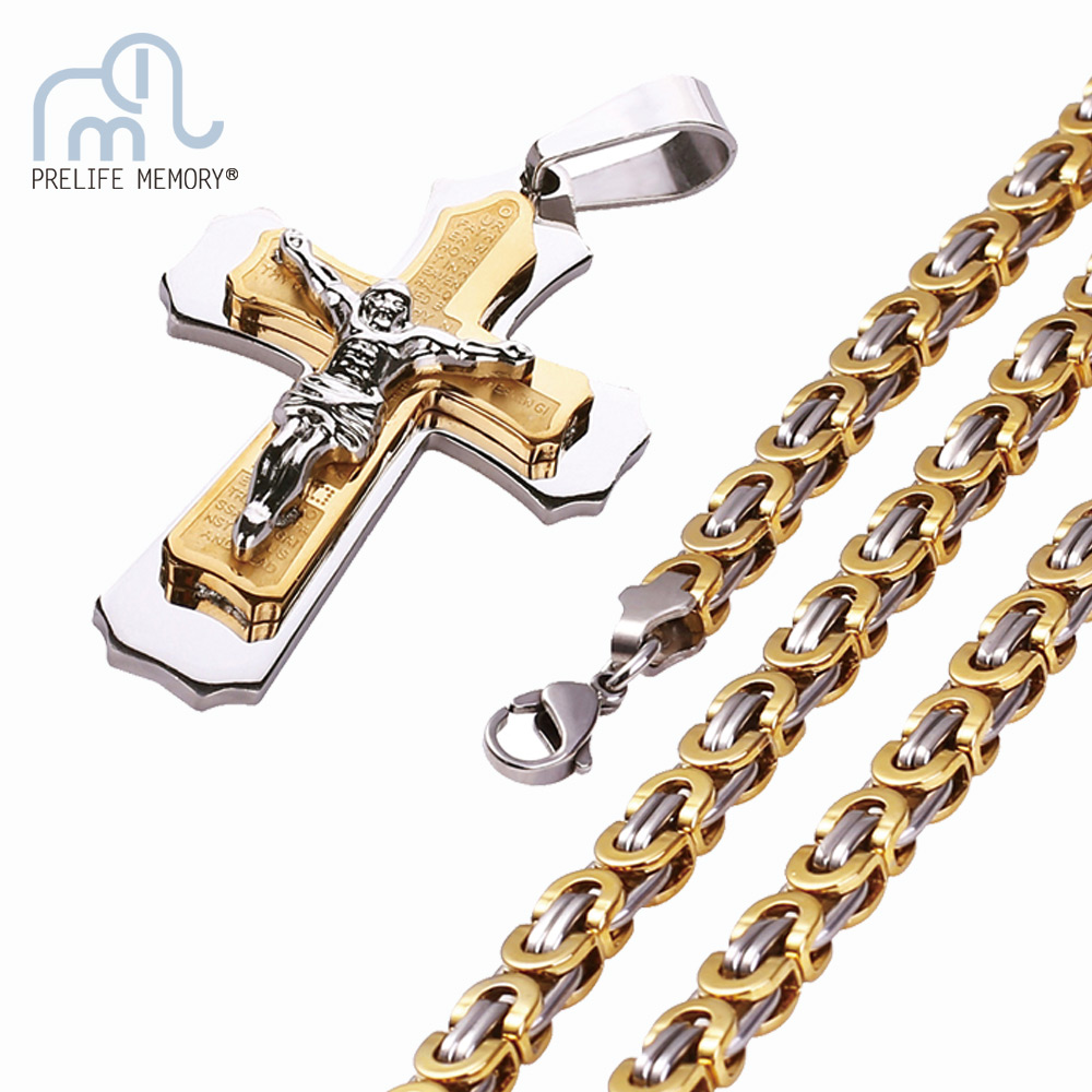 <font><b>Cross</b></font> Jesus 316L Stainless Steel Pendant Necklace Men Gold Color Christ Bible Punk 3 Layer Chain Necklace Religious Jewelry