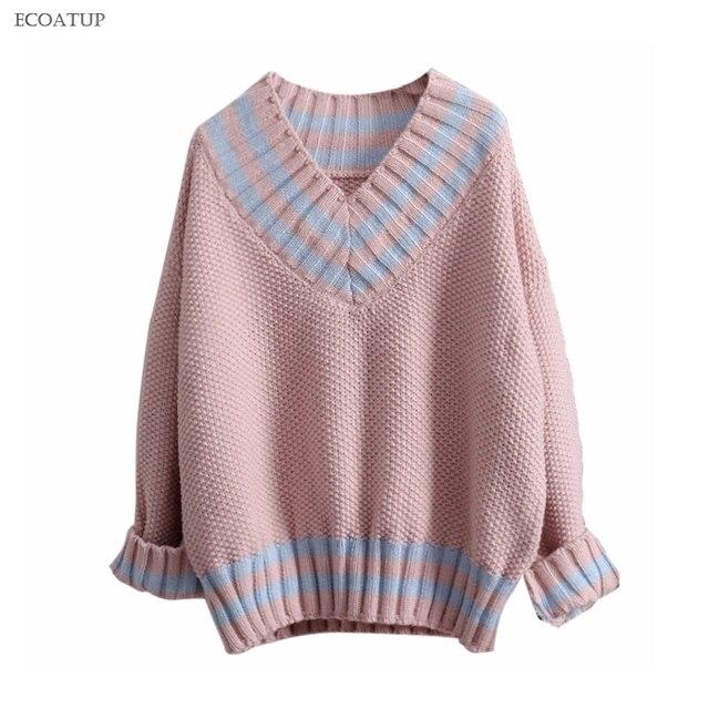Warm Thicken Sweater Women Autumn Winter Vintage Deep V Neck Color Block Striped Jumper Fashion