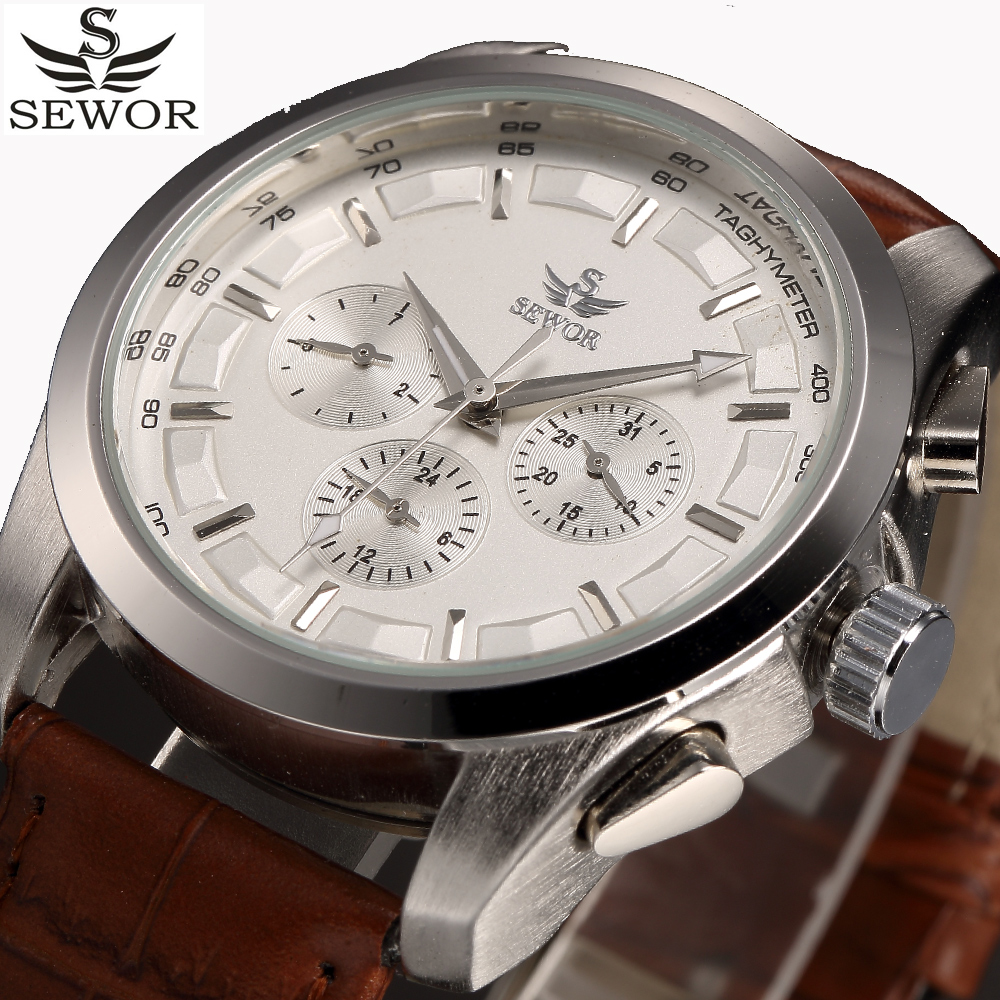 Automatic Mechanical Watch Men 2016 SEWOR Luxury Brand Functional Business Watches Men's White Clock Casual Wristwatch Relogio