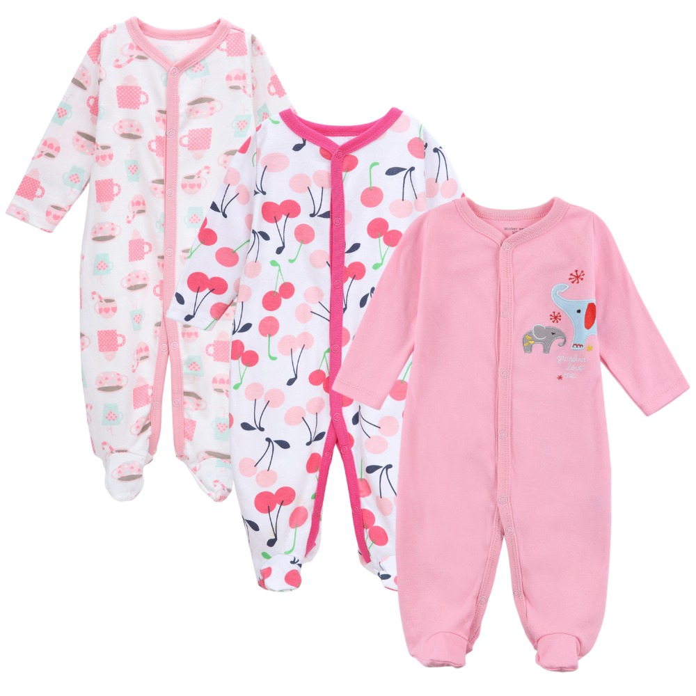 3pieces/lot 0-12M Infant Rompers Newborn Baby Long Sleeve Clothing Kids Boys Girls Jumpsuits Clothes 2017 Spring Autumn Roupa winter newborn bear jumpsuit patchwork long sleeve baby rompers clothes baby boys jumpsuits infant girls clothing overall