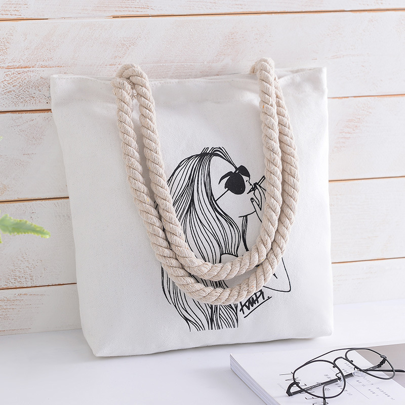Fashion Ladies Shopping Bags Large Capacity Summer Bag partysu Cartoon Girl Pattern Printed Straw Weave Canvas Rope Women Tote