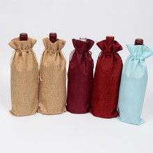 15*35cm Rustic Burlap Jute Wine Bottle Cover Wedding Christmas Party Birthday Cloth Gift Bag Drawstring Pouch 10pcs