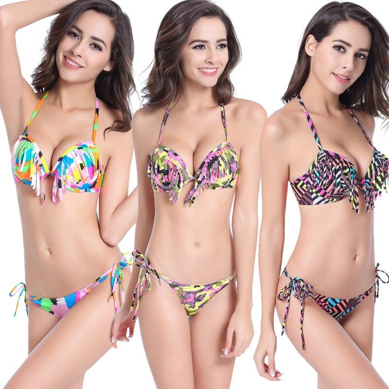 Wild Print Underwire Cup Swimsuit Women 2017 Fringe Bikini Push Up Top Swimwear Female Sexy Swimsuit Neck Halter Tassel Bikini