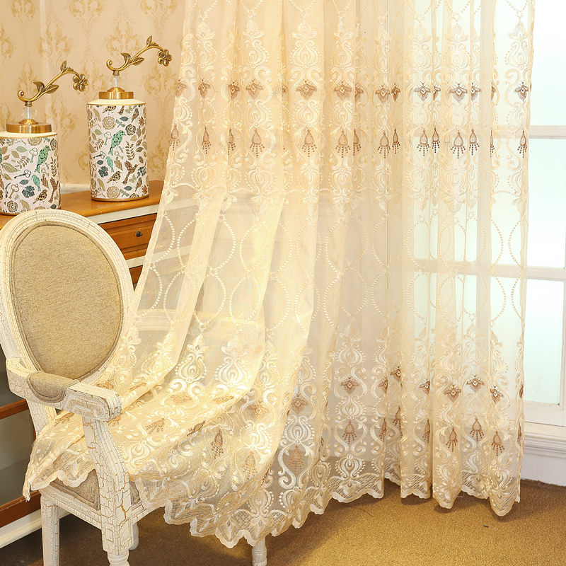 Upscale Curtains For Bedroom Luxury European Finished Curtains Fabric Embroidered Beige Tulle Cortinas For Living Room M072#4