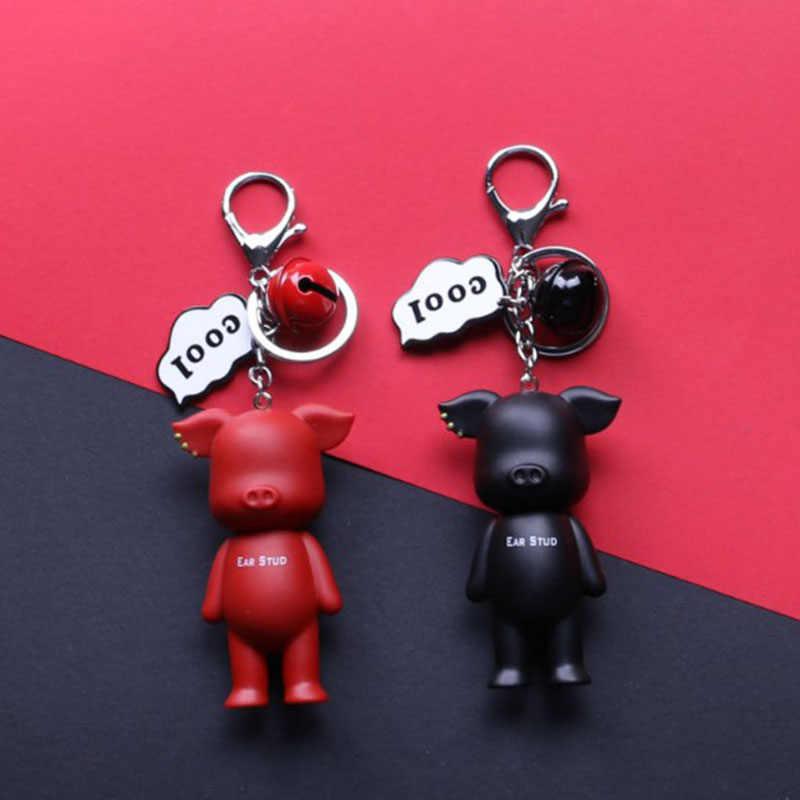 Piglet chaveiro senhora saco pingente criativo dos desenhos animados casal contratado carro chaveiro anel de metal presente