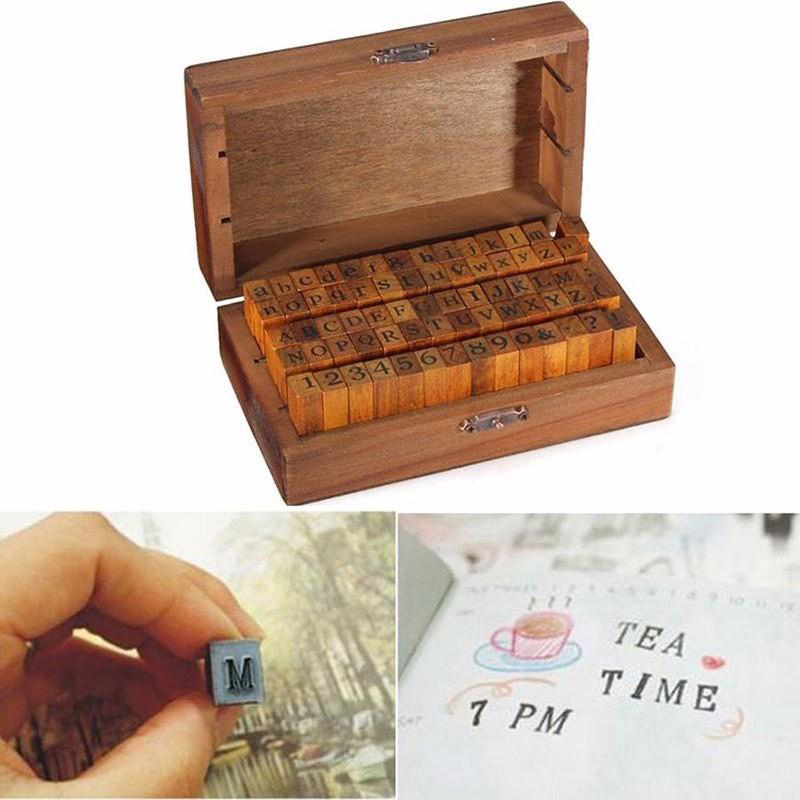 New Design 70pcs Retro Style Alphabet Number Pattern Wooden Rubber Stamp Set DIY Writing Scrapbooking Paper Cards Stamps Gift