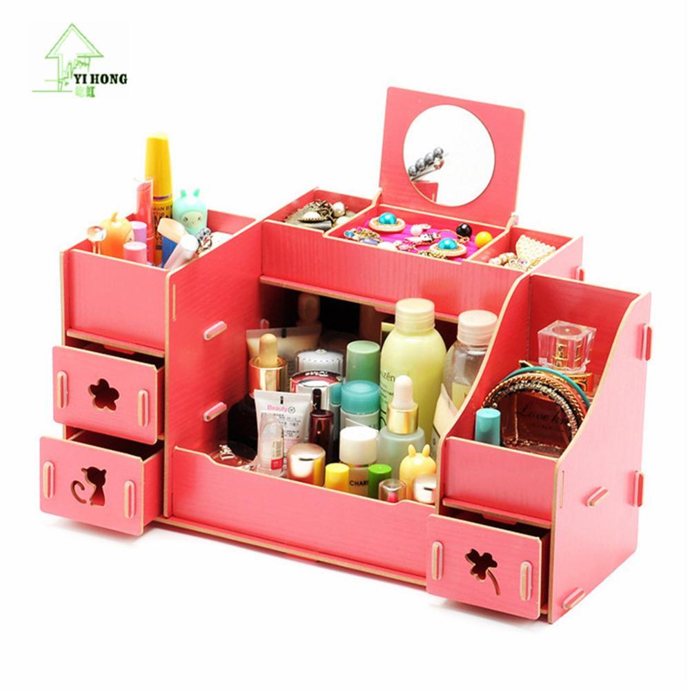 YIHONG Creative Diy Wooden Cosmetic Storage box Multi-function Cardboard Office Desktop Storage Boxes Makeup Organizer Box With