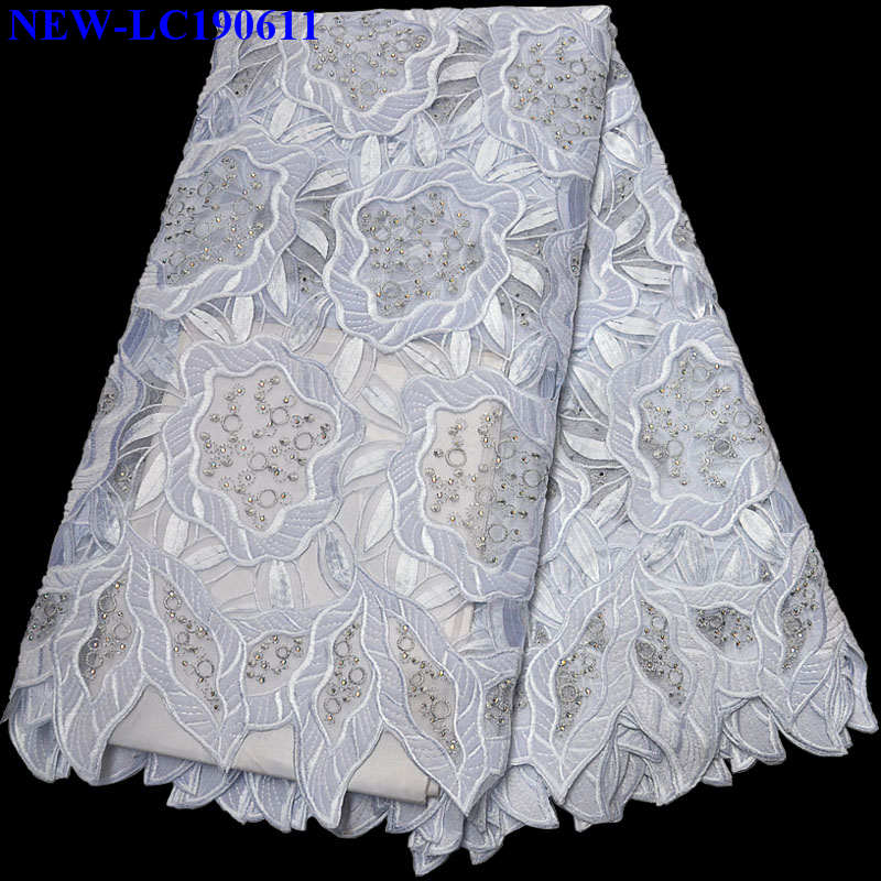 African Wthie color Handcut Velvet lace fabric Embroidered Tulle Mesh Lace Fabric 2019 Hot Sale Organza
