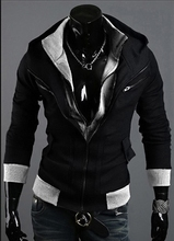 Hot Sale European and American men leave two hooded coat Warm jackets men's brand Fashion Casual wool sweater jacket coat