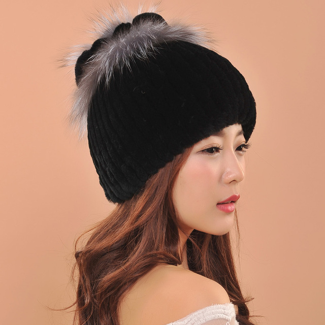 2016 Fashion Women Real Knitted Rabbit Fur Hats Winter Warm Cap Hat Winter Female Cap