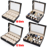 10/12 Grids PU Leather Watch Box Case Collector Holder Organizer For Clock Watches Jewelry Display Storage Boxes Glass Top D20