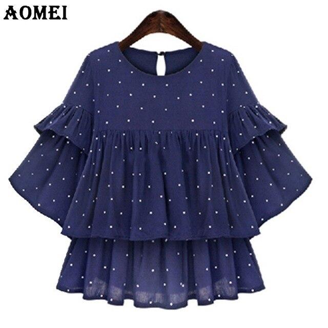 Aliexpress.com : Buy Chiffon Polka Dot Blouse for Women Navy Blue ...