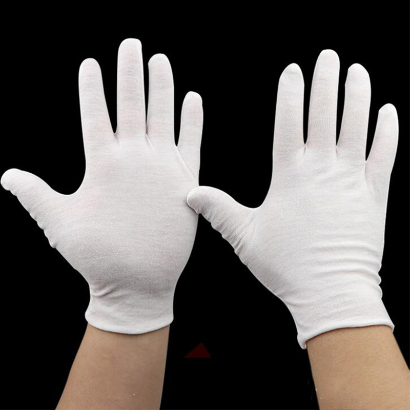 12 pares de Algodão Luvas de Trabalho de Segurança Reutilizável Fina Mão Seca Hidratante Cosméticos Eczema Mão Spa Luvas de Inspeção de Jóias Moeda