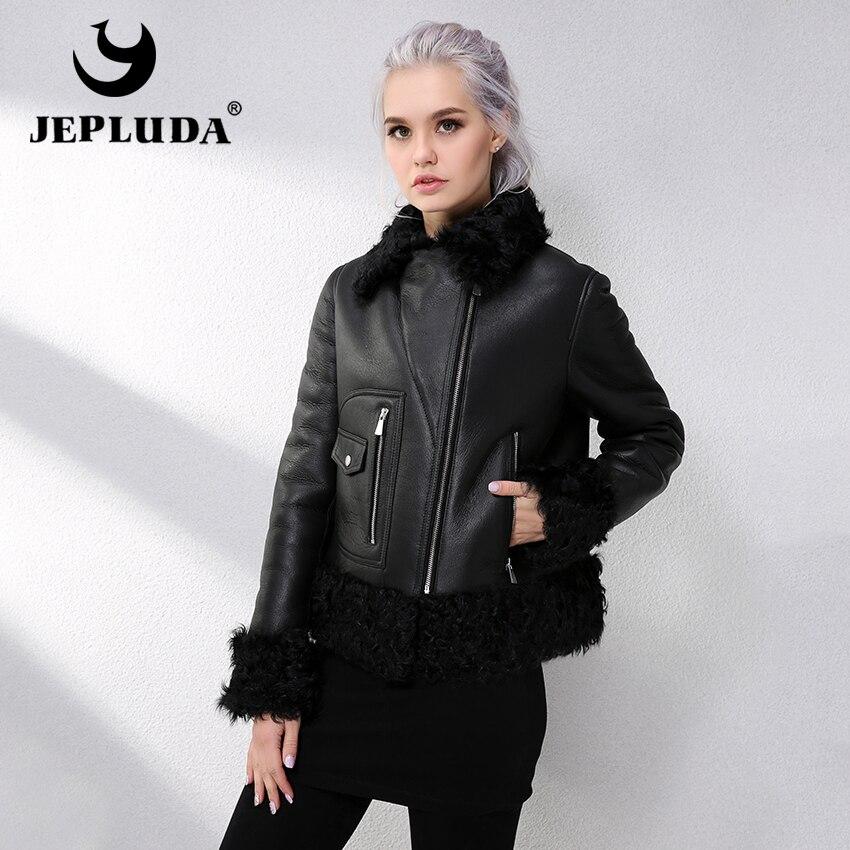 JEPLUDA Winter Womens Sheepskin Coat Natural Real Fur Coat Lamb Fur Collar Warm Genuine Merino Sheep Fur Coat leather jacket