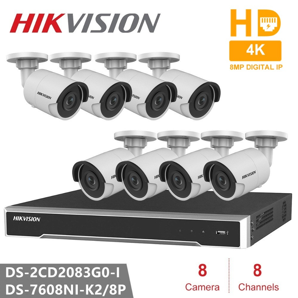 Hikvision Video Surveillance System 8CH NVR 8PCS Camera DS 2CD2083G0 I 8MP Bullet Network Camera POE