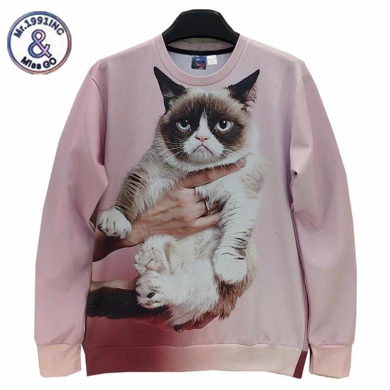 2017 Mr.1991INC&Miss.GO 2017 New Animals Printed Fashion 3D Sweatshirt Tops Women Funny Cat Printed 3D Hoodies Spring Autumn jac