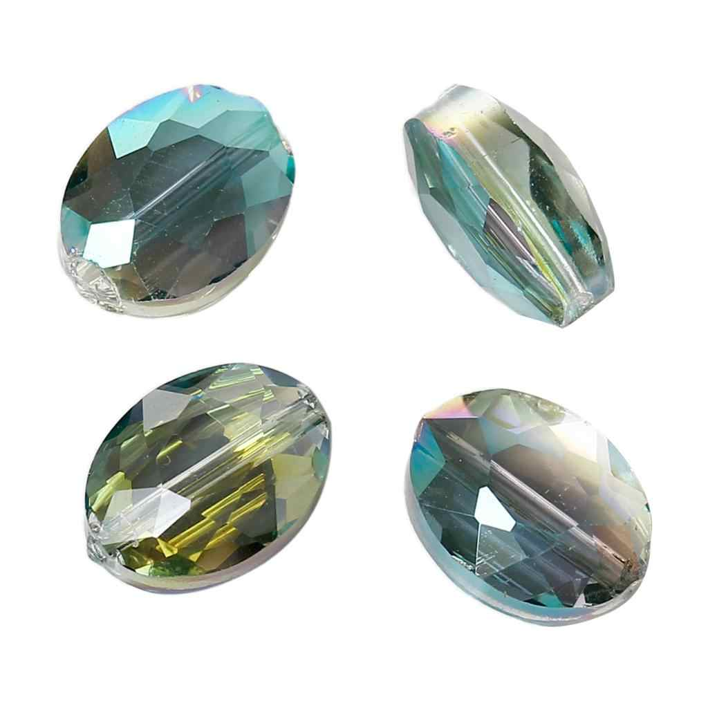 "DoreenBeads Glass Loose Beads Oval Green AB Color Transparent Faceted About 12mm( 4/8"") x 9mm( 3/8""), Hole: Approx 1mm, 10 PCs"