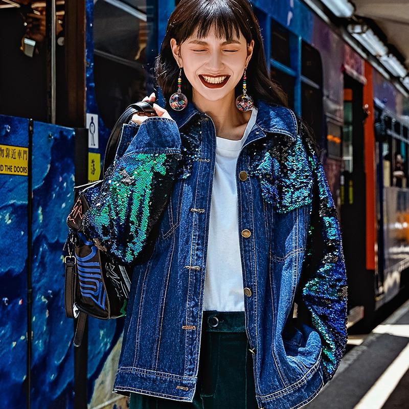 Denim Droite souris Style Street Originale High Conception Des Lâche Manteaux Nouveau A8018 Blue Spliced Coton Paillettes Manteau Femmes Chauve Chic De Manches qCvnx