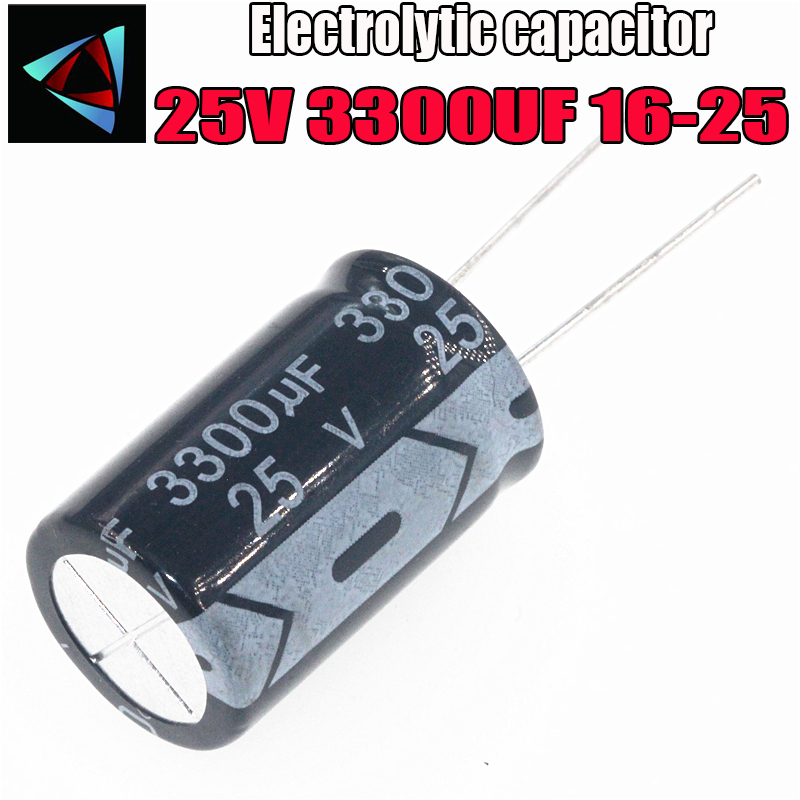 2PCS 25V 3300UF 16-25mm 3300UF 25V 16*25 Electrolytic Capacitor