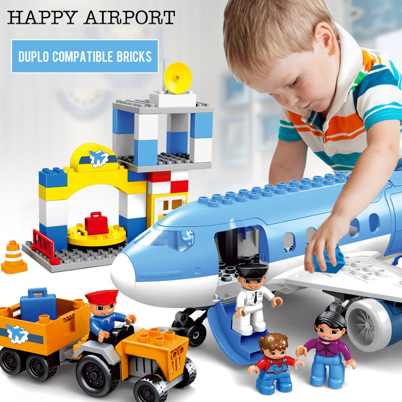 Pandadomik Large Size Airport Building Toy Bricks Duploes Compatible Blocks legoinglys Constructor Educational Toys Baby Kids yy 18 decoration led luminous hair slice extension wig for party transparent 2xcr1220