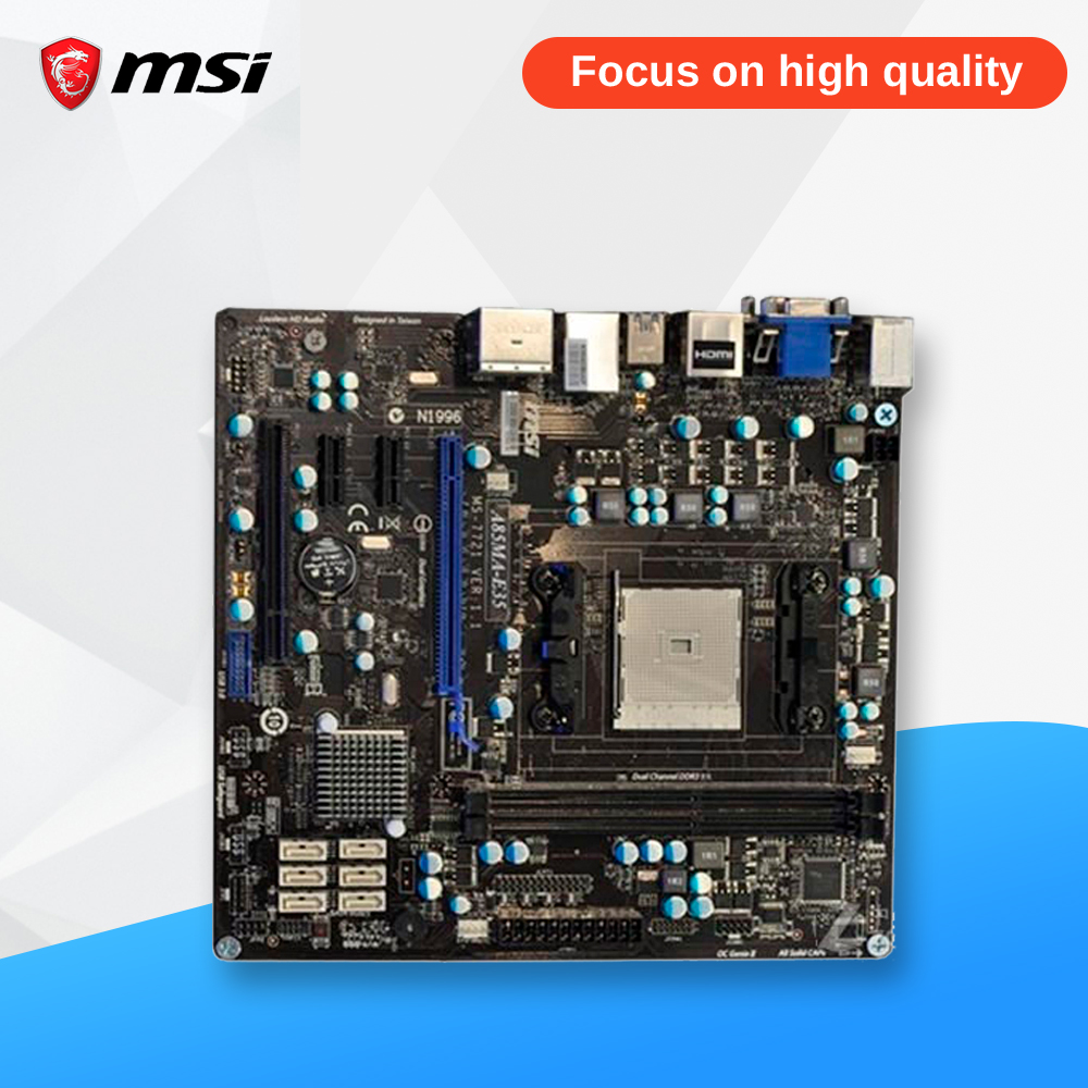 MSI A85MA-E35 Original Used Desktop Motherboard A85X Socket FM2 DDR3 SATA3 USB3.0 ATX msi p41 c31 original used desktop motherboard p41 socket lga 775 ddr3 4g sata2 usb2 0 atx
