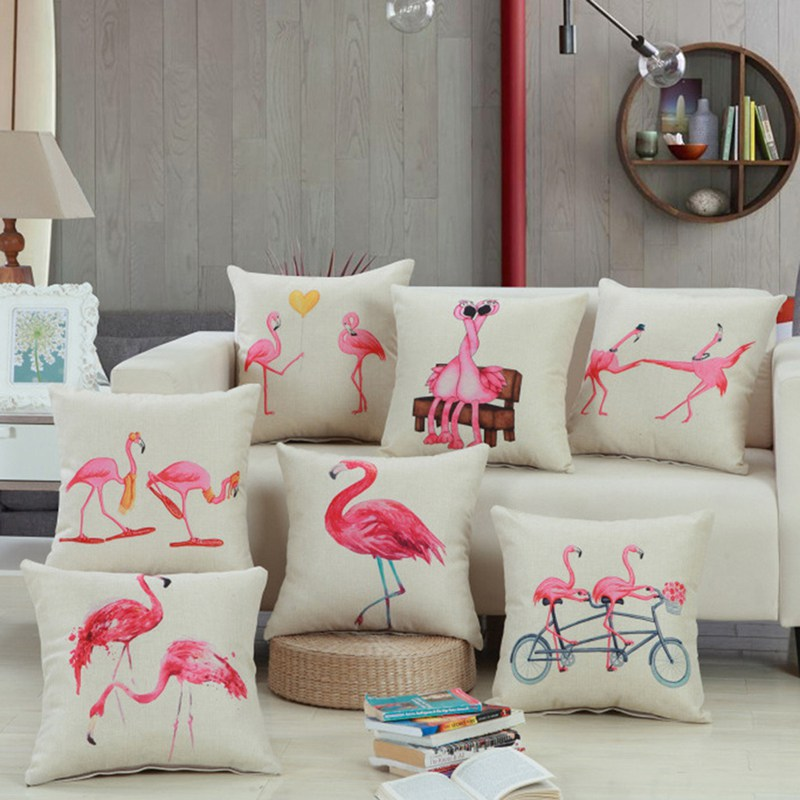 New Arrival Tropical Bird Pink Flamingos Cushion Cover Linen Square Throw Pillow Cover Pillow Case Home Office Car Sofa Decor