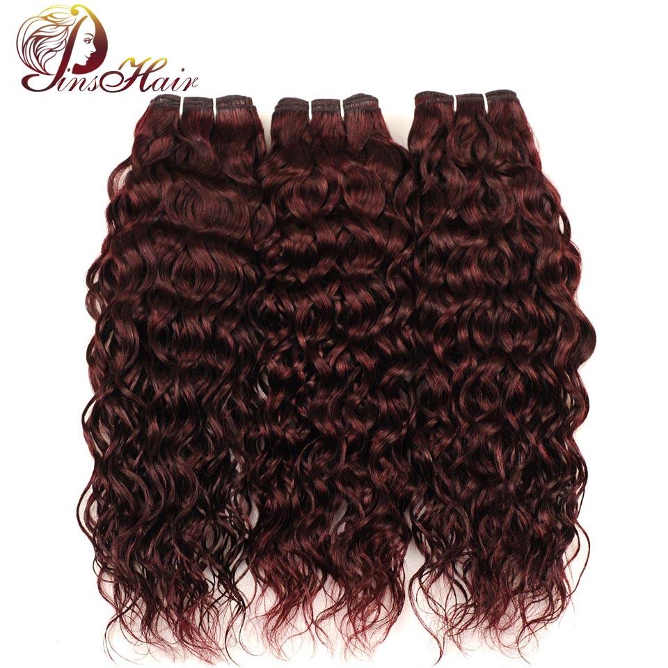 Pinshair перуанский вода волна 3 пучки бордовый волосы мокрые волнистые 100% Пряди человеческих волос для наращивания красный перуанский не Воло... ...