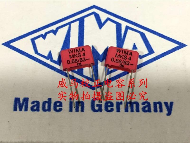 2018 горячая распродажа 20 шт. Германия WIMA MKS4 63 В 0,68 мкФ 63 В 684 P: 10 мм аудио конденсатор Бесплатная доставка