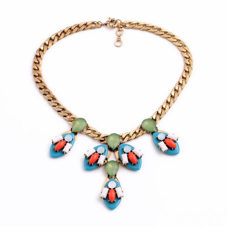 Женское модное ювелирное изделие, дизайн, Розовая Смола, камень, подвески, массивное ожерелье - Окраска металла: blue necklace