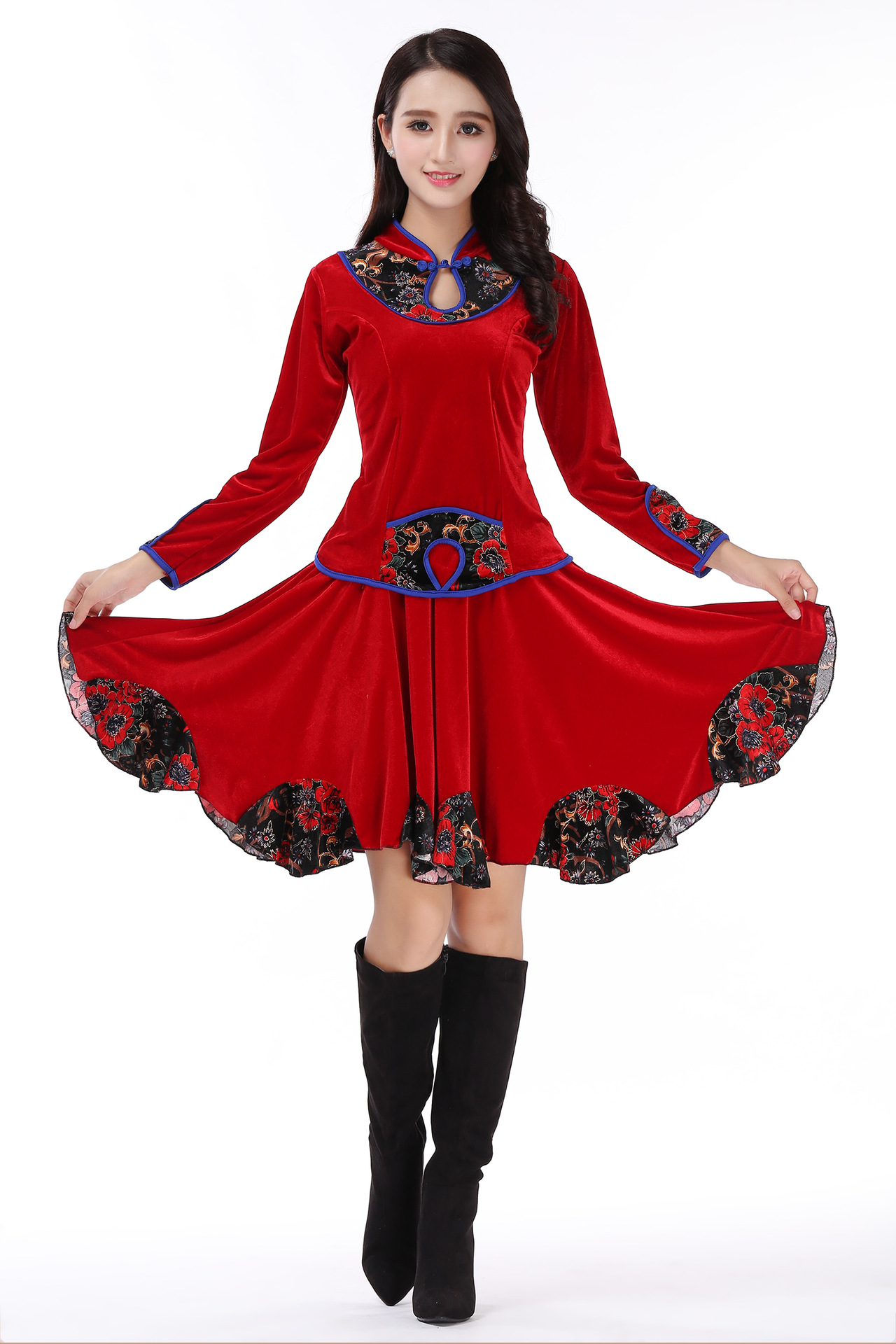 Square Dance Clothing Autumn And Winter Embroidery New Warm Gold Velvet Long Sleeves And Put On Skirt Pants Suit Dance Suit D065